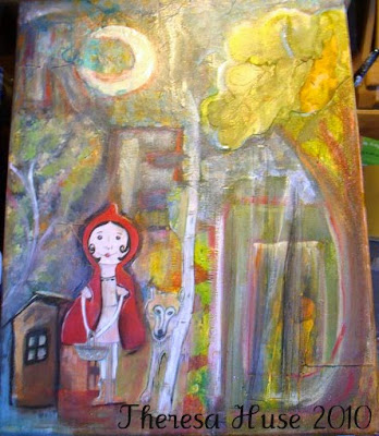 Little Red Riding Hood Mixed Media Painting