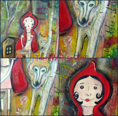 Close up Collage of Little Red Riding Hood Mixed Media Painting