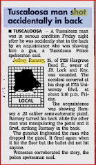 TUSCALOOSA MAN SHOT ACCIDENTALLY IN  BACK, WOULD YOU OPEN MY ARTICLE IN A SEPARATE WINDOW