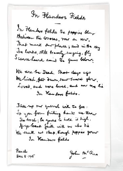 John McCrea hand-written poem