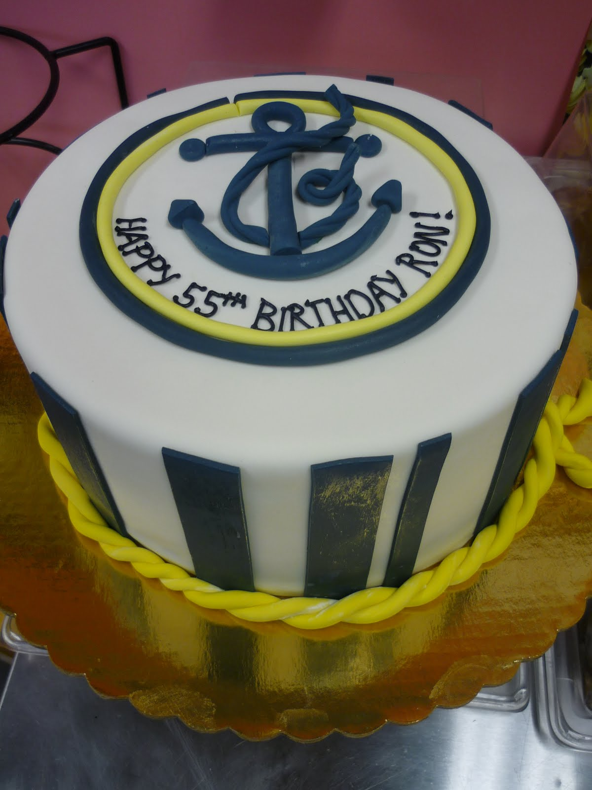 Artisan Bake Shop Fondant Cake Navy Blue and Yellow Anchor Rope