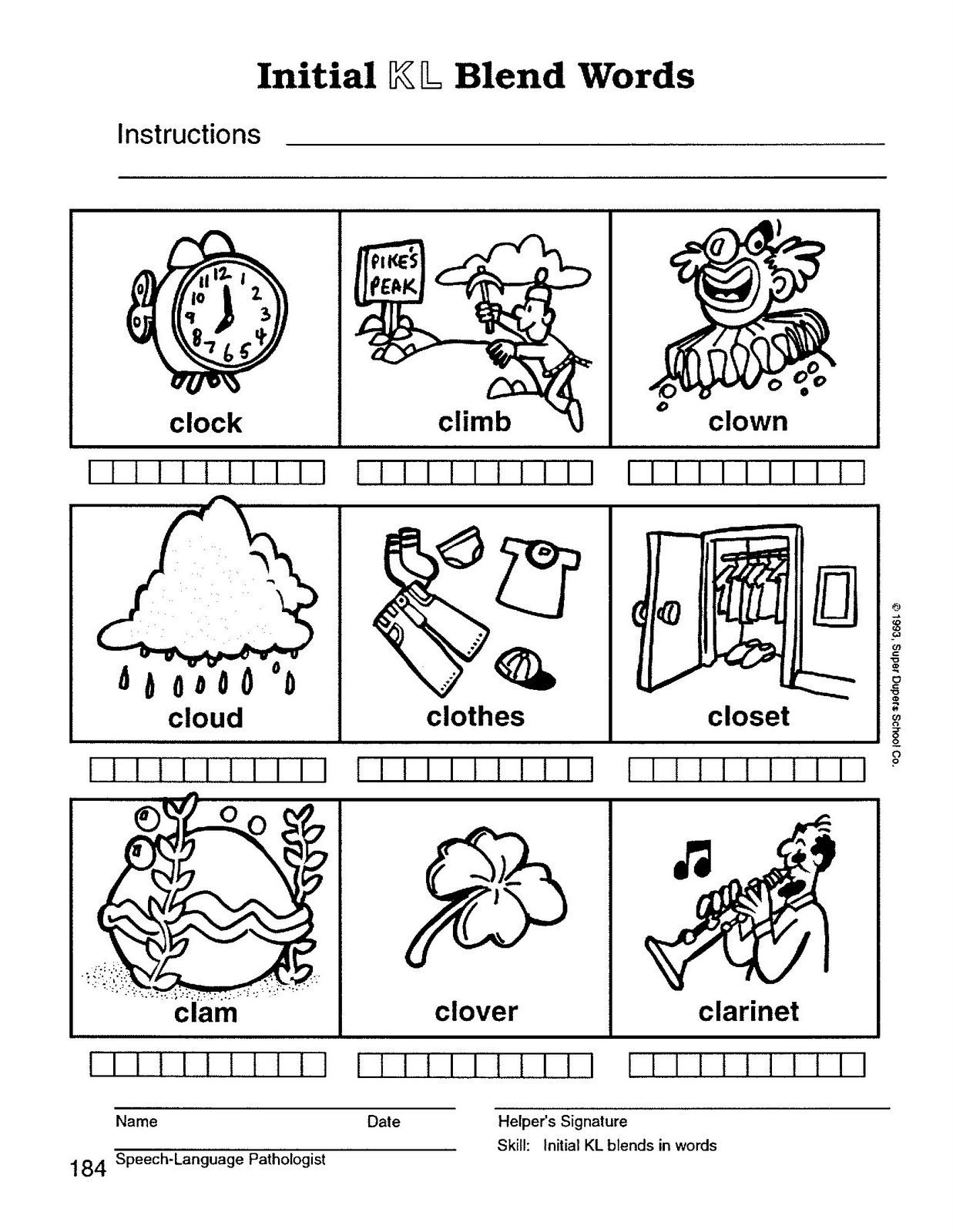 worksheet S Blends Worksheet speech therapy with miss nicole l blend words words