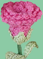 crochet pink rose stem yarn