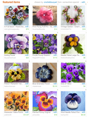 etsy treasury pansy flower