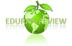 Picture of a green and white apple shaped as world globe