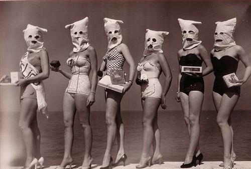 Swimsuit Girls with Bags Over Their Heads