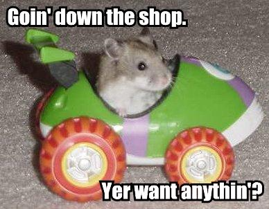 Goin' down the shop. Yer want anythin'