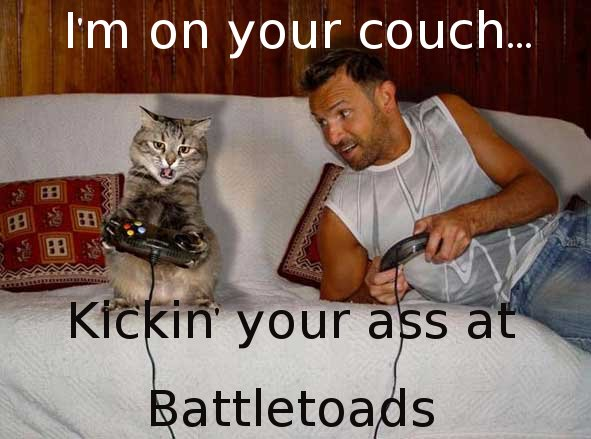 I'm on your couch...Kickin' your ass at Battletoads