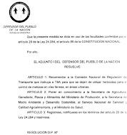 DEFENSOR DEL PUEBLO DE LA NACION: RESUELVE QUE TBA VUELVA A CORTAR EL PASTO, BASTA DE AGROTOXICOS