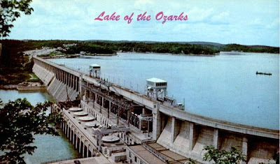 Vintage photochrome postcard of Bagnell Dam, circa 1968
