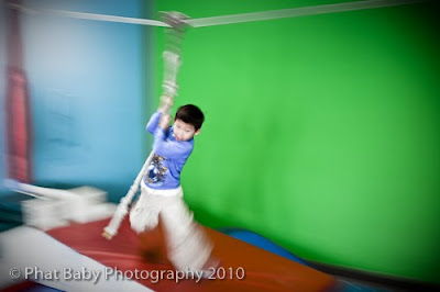 kid hanging by a thread