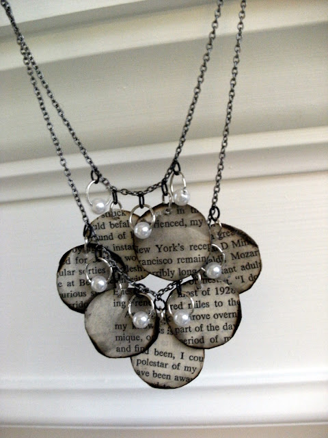 crafty jewelry and recycling paper: book page necklace tutorial