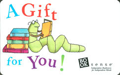 indie bookstore gift card with picture of bookworm