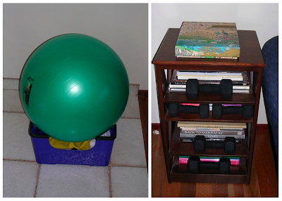 exercise equipment: ball in upside-down step; weights on bookshelf