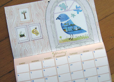 calendar with picture of blue bird
