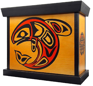 wood box with image of Native American style whale