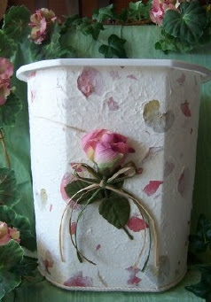 handmade paper wastebasket with rose