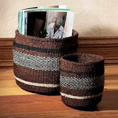 2 striped baskets in brown, black and white