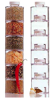 tower of stackable spice jars