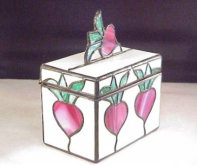 stained glass recipe box with radish motif