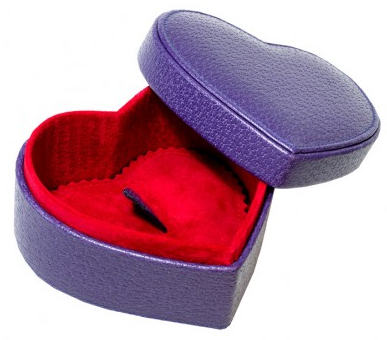 purple leather heart-shaped box with red interior