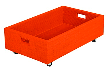 orange box on wheels for under the bed