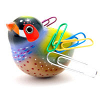 magnetic bird for holding paper clips