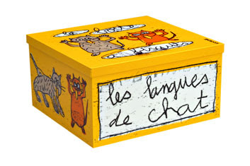 yellow French storage tin with pictures of cats and words les langues des chats
