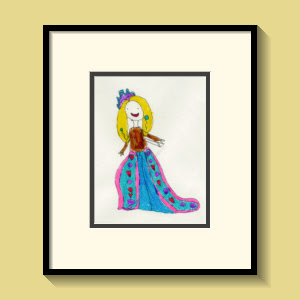 child's picture of girl in blue dress
