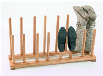 oak shoe and boot rack - poles to place shoes on