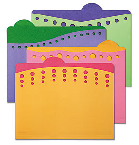 die cut file folders with dots, bright colors