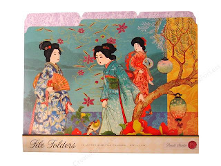 file folders with geishas
