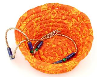 orange bowl from leftover silk textile