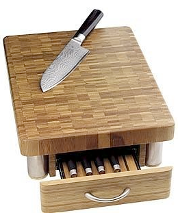 chopping board with drawer to store knives