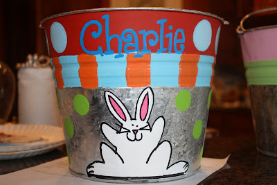 Easter bucket / pail with rabbit