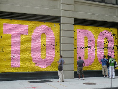 Words To Do, huge, created with sticky notes