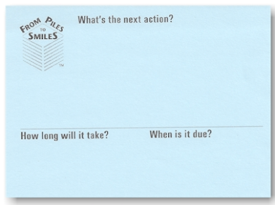 Sticky notes which ask - What's the next action