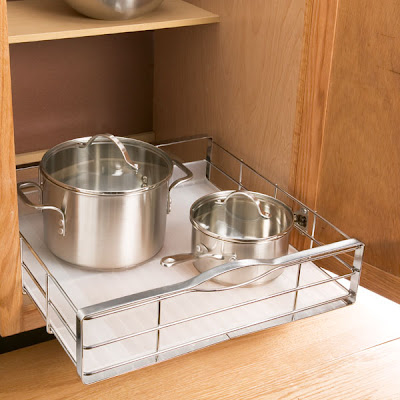 pull-out organizer holding pots