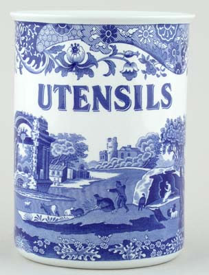 blue and white utensil holder, landscape picture; says utensils
