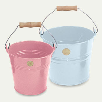 pastel blue and pink buckets