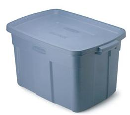 large plastic bin, blue