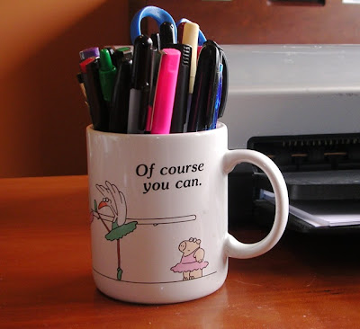 Mug serving as pencil cup