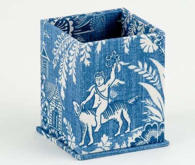 square pencil cup; blue and white design, tapestry-like