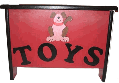 ed pet toy chest, picture of dog, says TOYS