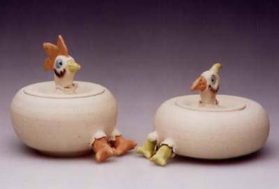 jars with chicken ff=eet; lids have chicken heads