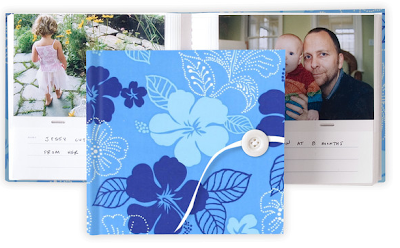 blue flowered photo album - exterior and interior