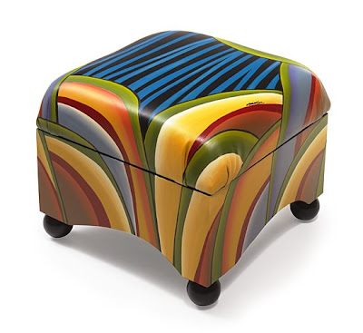 abstract design storage ottoman, bright colors