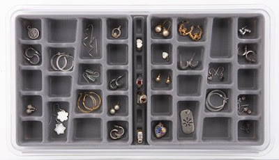 jewelry tray with compartments, gray