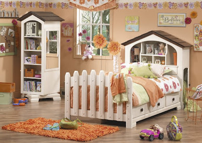 child's captain's bed with bookcase headboard in room with other furnishing, including a swivel bookcase