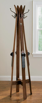 coat tree made from wooden skis